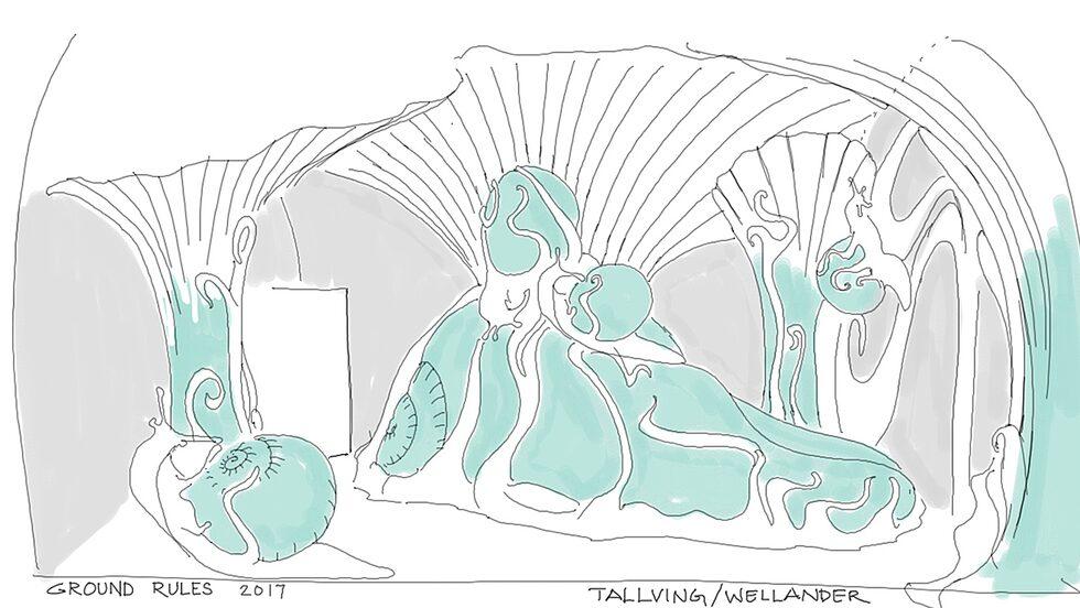 """Så här ska snigelvärlden i sviten """"Ground Rules"""" av Ulrika Tallving och Carl Welander se ut."""