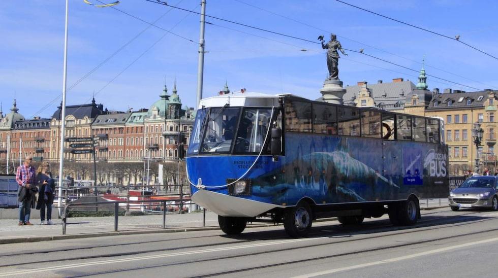 Buss eller båt? Det är många som undrar när amfibiebussen Estelle kör förbi.