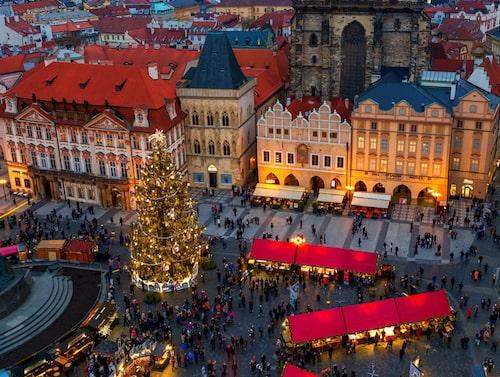 Strosa runt bland historiska byggnadre, vacker julbelysning och lokala hantverk.