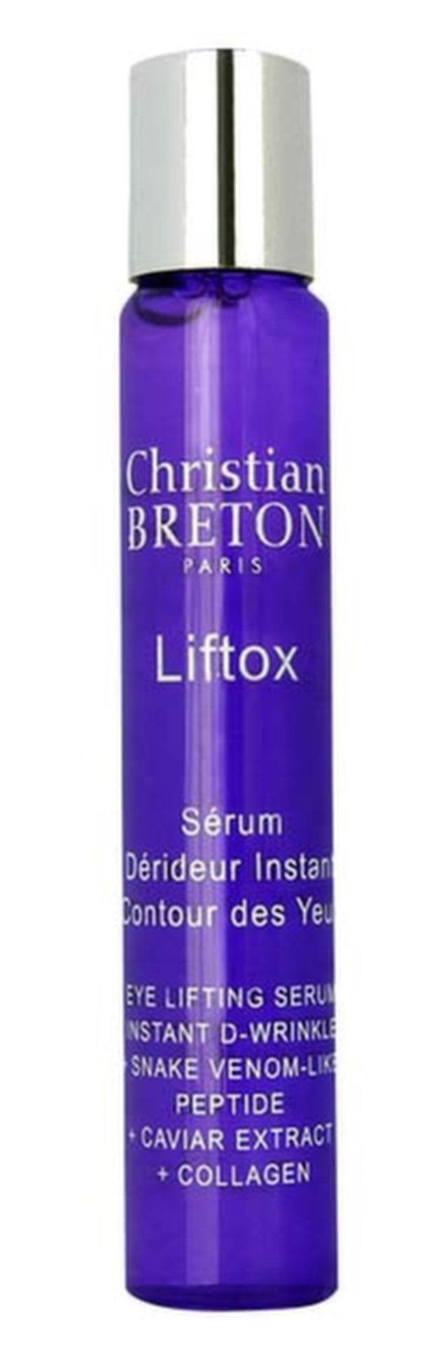 Liftox, 10 ml, 499 kronor, Christian Breton.Ett ögonserum med ingredienser som peptider, kaviarextrakt och kol lagen. Sammansättningen ska ha avslappnande effekt och få huden runt ögonen mindre spänd. Känns skön och lugnande.