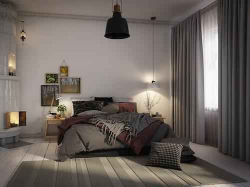 Med gardin från tak till golv upplevs fönstren som större.
