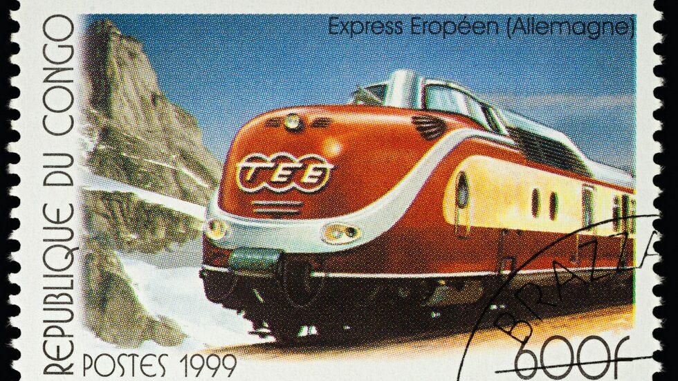 Ett frimärke från Kongo som hyllar Trans Europ Express.
