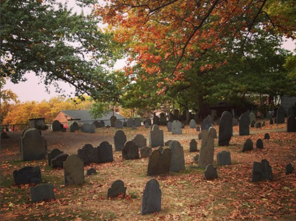 Gamla begravningsplatsen i Salem.
