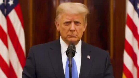 Se hela Donald Trumps tal där han tar farväl