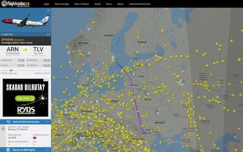 Efter att Norwegian bestämt sig för att stoppa alla flygningar med olycksmodellen fick ett flygplan från Arlanda på väg till Tel Aviv göra en U-sväng och vända tillbaka.