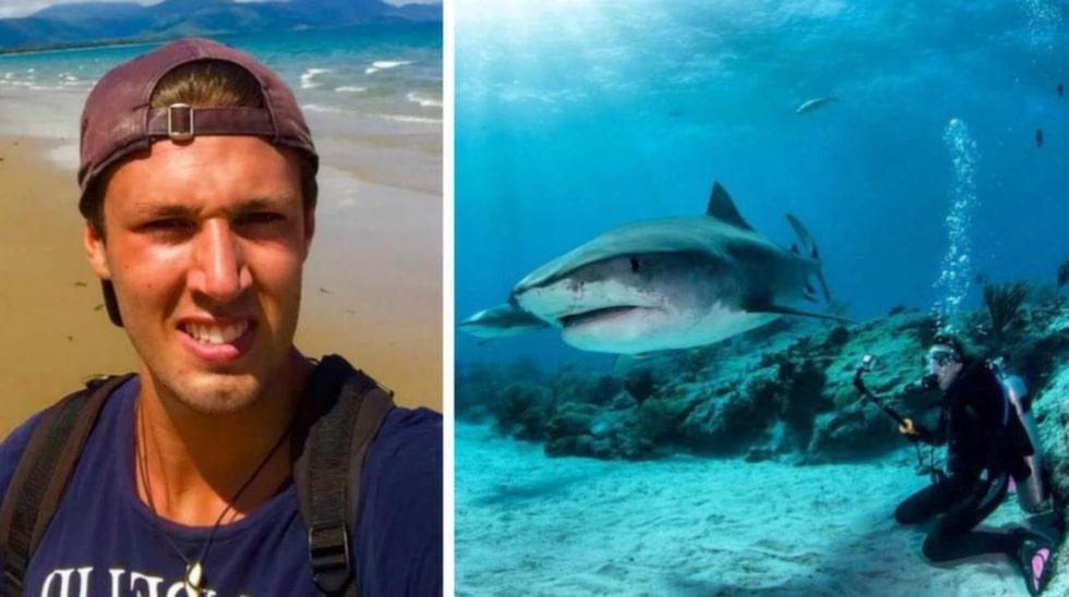 """Victor Ferm lever drömmen under vattnet i Australien. Där simmar han bland vackra fiskar, sköldpaddor, vattenormar – och stora hajar. """"Mina föräldrar och nära och kära är inte speciellt glada över mitt yrke"""", säger Victor."""