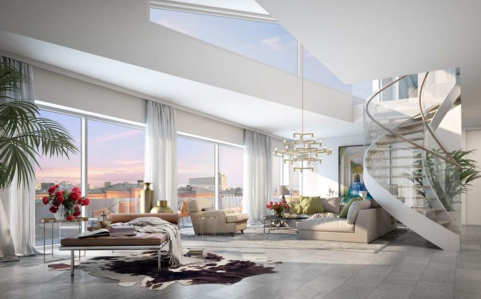 Förutom en stor boyta i två plan kommer det dessutom finnas en terrass på 245 kvadratmeter – med utsikt över hela Stockholm.