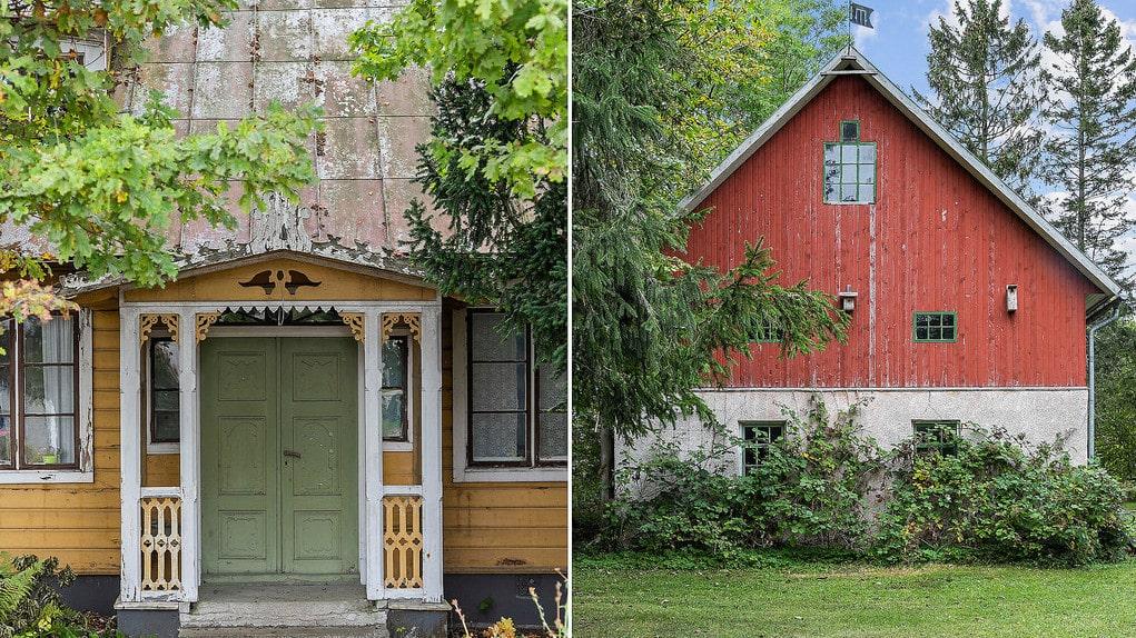 Ingången på verandan med de vackra snickerierna leder in till det gamla postkontoret.