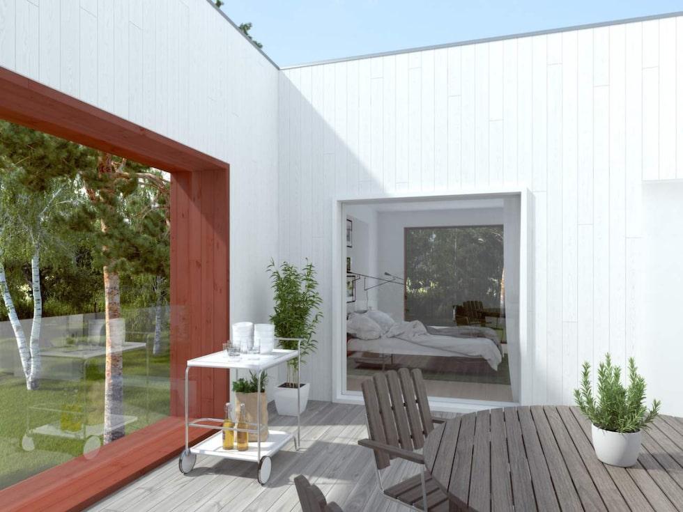Helst vill vi svenskar ha terrass eller balkong, något som givetvis finns ritat på det här huset.