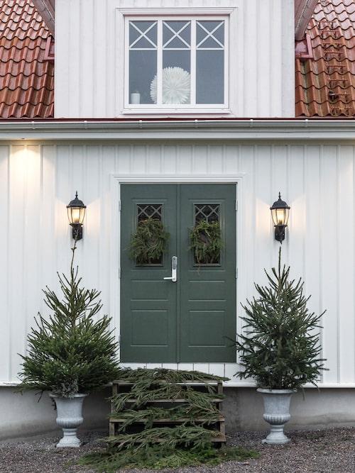 På baksidan av huset har Therese dekorerat med små granar. Här ska en ny trappa byggas.