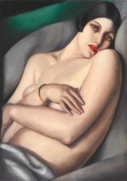 """Tamara de Lempickas """"Le rêve (Rafaëla sur fond vert)""""."""