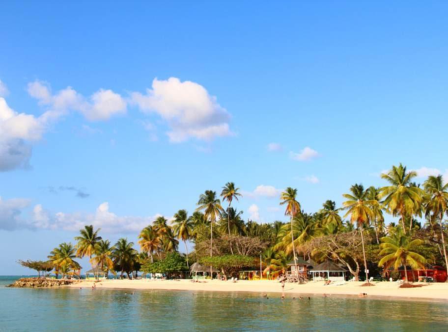 Vit sand och vajande palmer på Pigeon Point, Tobagos mest typiskt karibiska strand.