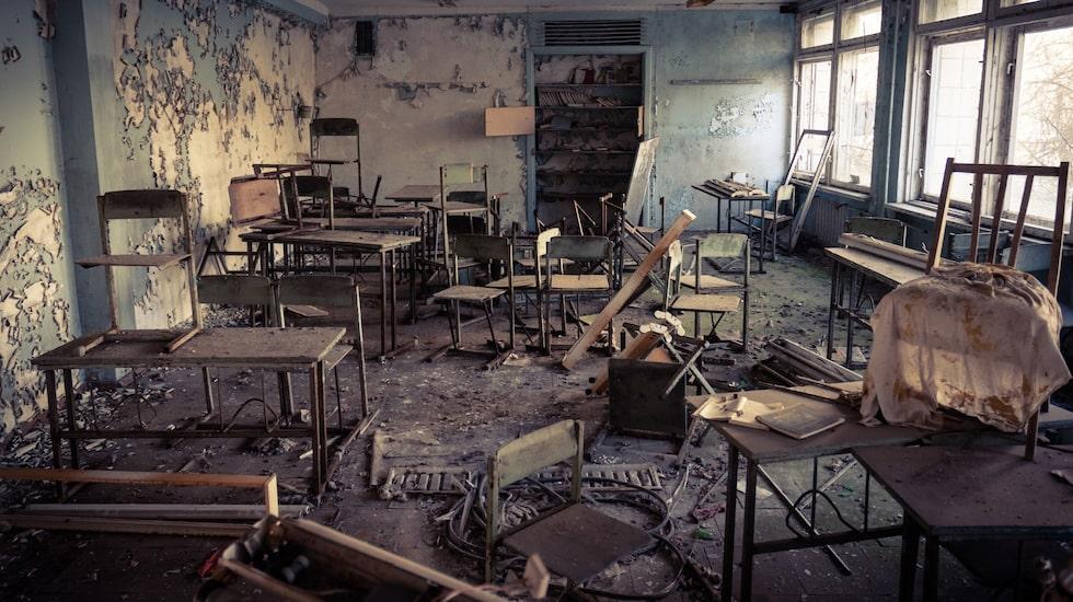 En övergiven skola i Tjernobyl, fotograferad 2012.