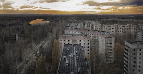Vy över världens mest kända spökstad – Pripjat.