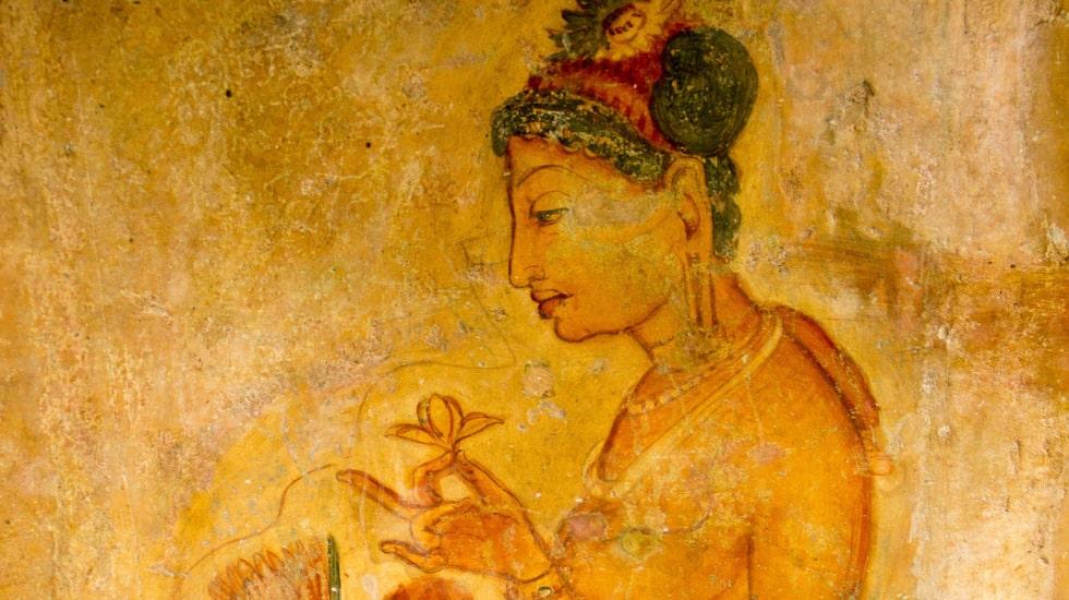 Bilderna på Sigiriyas bergvägg är väl bevarade sedan 500-talet.