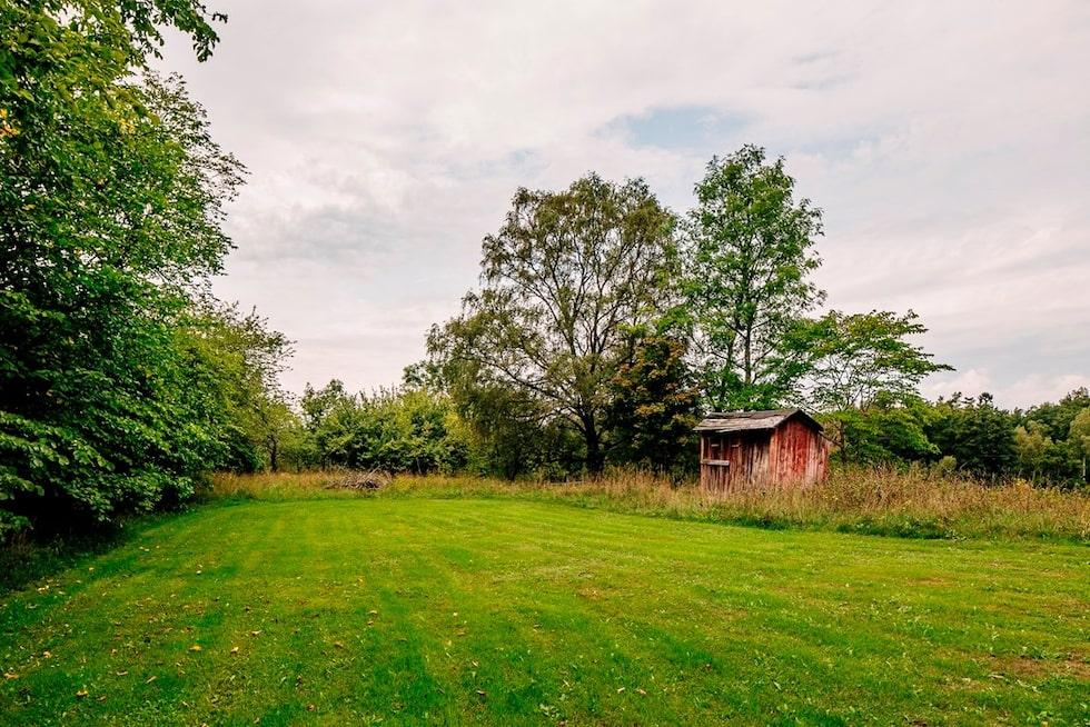 Tomten är stor, hela 17768 kvadratmeter, och i köpet ingår även en hektar skogsmark.