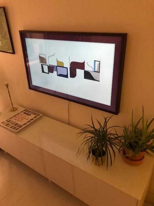 """""""Jag älskar min tv som är så sjukt snygg och smälter in fint. Det är en tavel-tv så trycker man en gång blir det en tavla."""""""