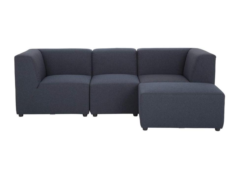 Generös i grått. Blå divansoffan Mirage består av två hörnmoduler, mittmodul och pall. 238 centimeter bred, 8 995 kronor, Furniturebox.