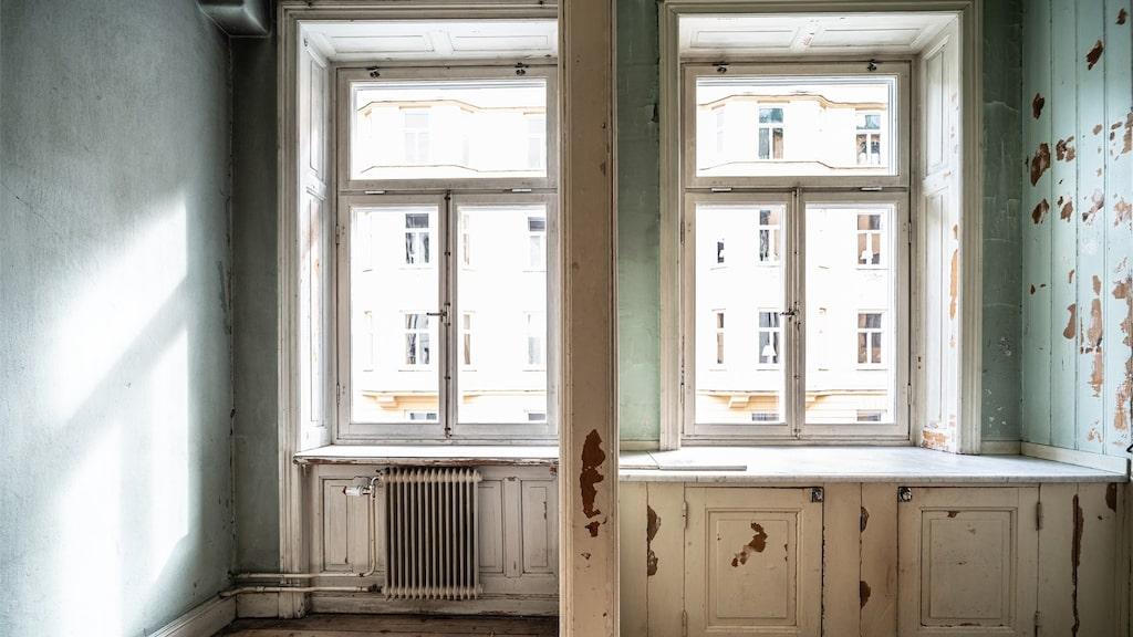 Djupa fönsternischer i de stora fönstren som släpper in vackert ljus.