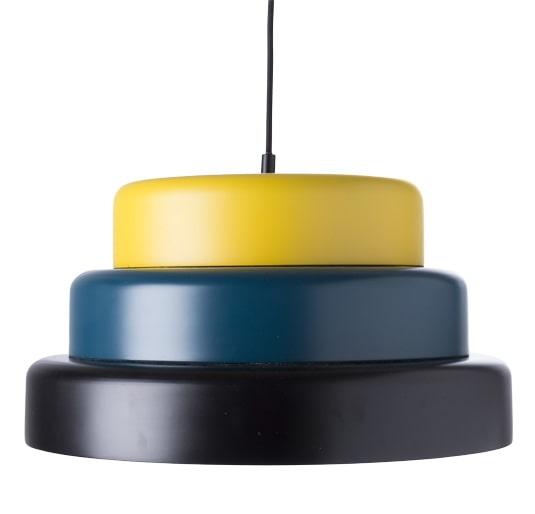 1 Taklampa i gult, petroleum och svart, 45 centimeter i diameter, 2 799 kronor, Ilva.