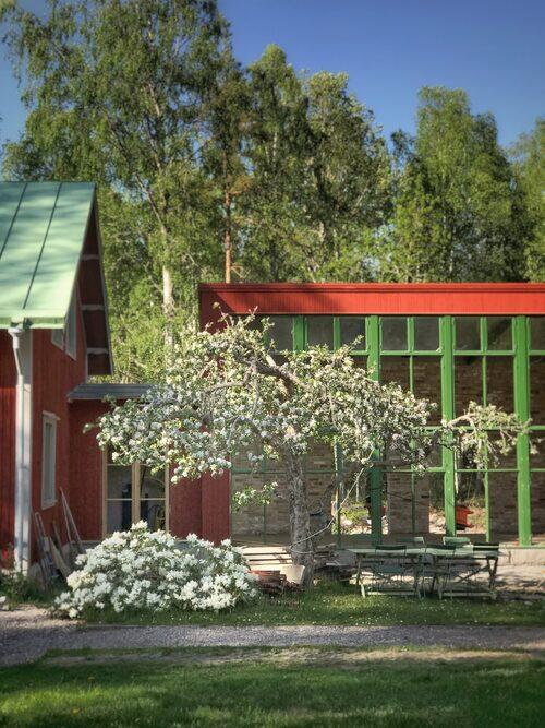 Orangeriet är sammanbyggt med bostadshuset för att det ska vara bekvämt att använda.