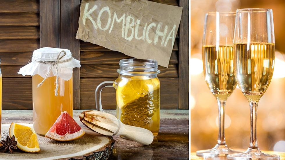 Låt bubblet gifta sig med trenddrycken kombucha. Här bjuder vi på tre cocktails med nyttiga inslag.