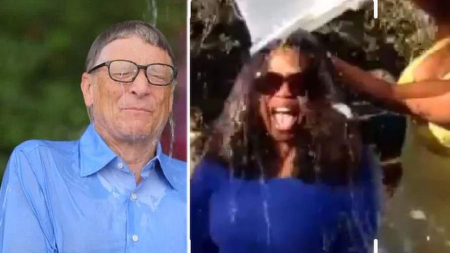 <p>Många kändisar deltog i kampanjen. Här syns Bill Gates och Oprah Winfrey när de dränks i iskallt vatten.</p>