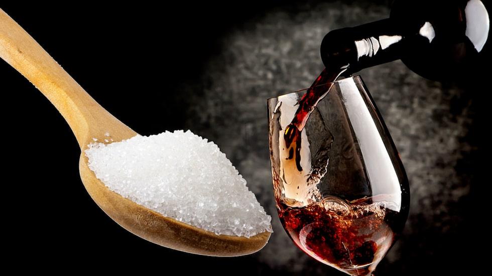 Olika typer av vin innehåller ofta olika mycket socker.