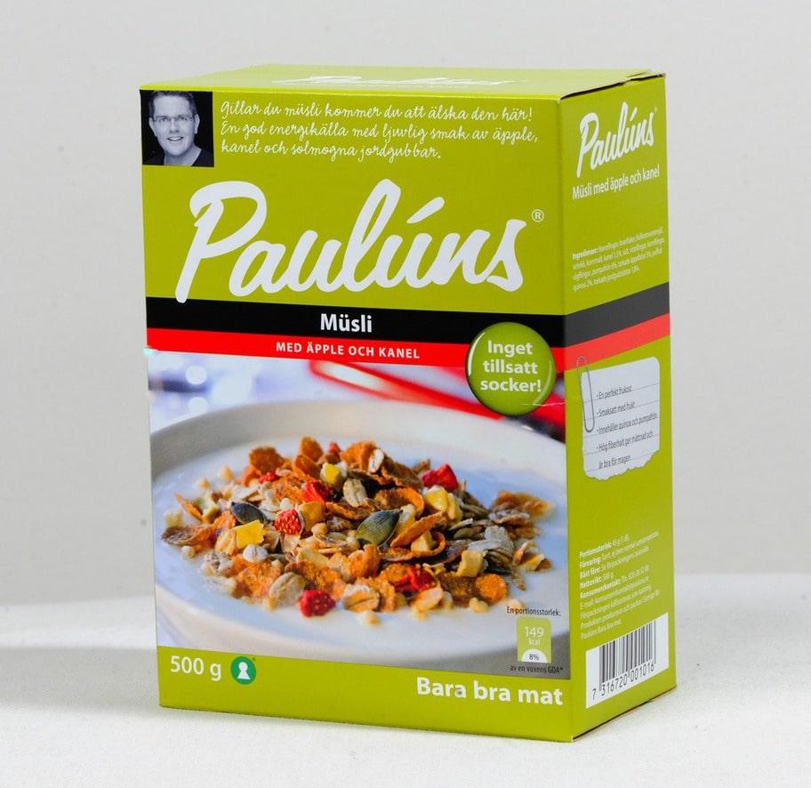 5 getingar. Märke: Paulúns müsli med äpple och kanel, Paulúns Pris: Cirka 38 kronor för 500 g. Ulrikas omdöme:Bra ingredienser, en jättebra müsli. Låg sockermängd vilket är toppen!
