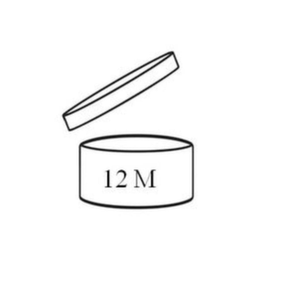 Symbol i form av en öppen burk. 12 M betyder att produkten är säker att använda i 12 månader efter att produkten öppnats.