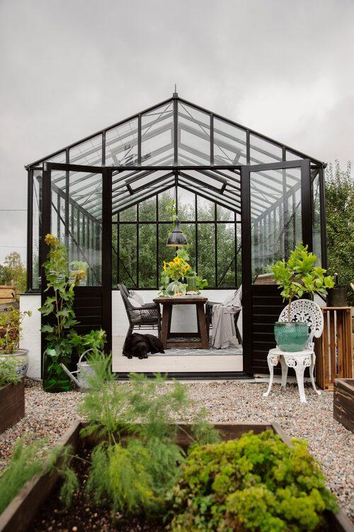 Jennies växthus, från Willab garden, är omgärdat av pallkragar där det odlas grönsaker.