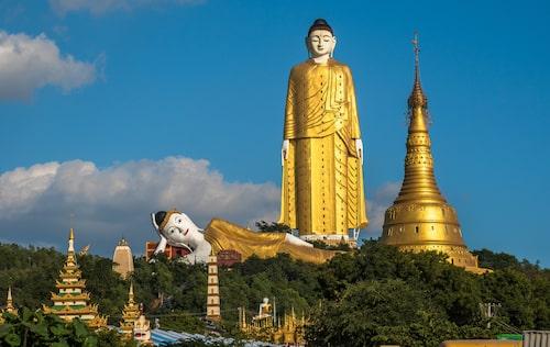 Den 129 meter höga Laykyun Sekkya är ett monument tillägnat Buddha.