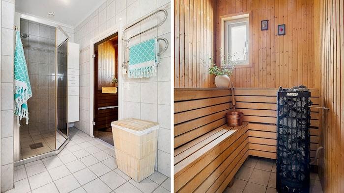 I badrummet finns även bastu.