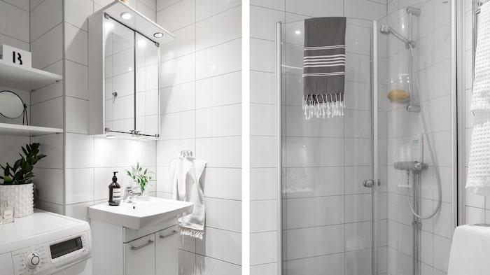 Litet badrum med tvättmaskin.