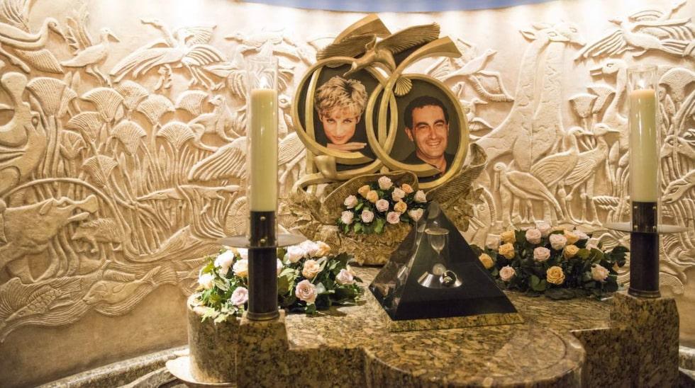 Minnesmonumentet över prinsessan Diana och Dodi al-Fayed.
