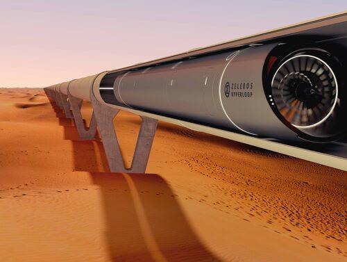 Hyperloopbana i den spanska paviljongen på världsutställningen Expo 2020 Dubai.
