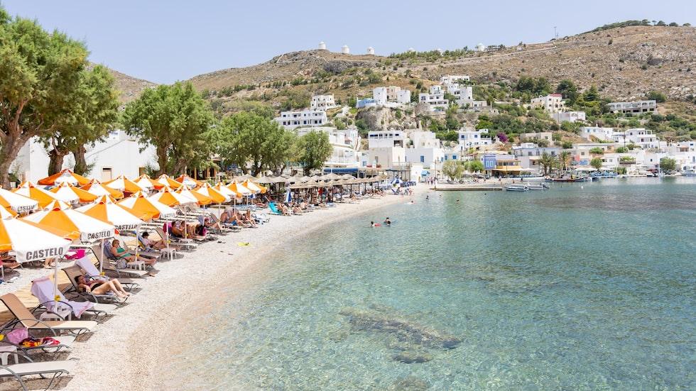 Stranden Panteli på ön Leros Grekland.