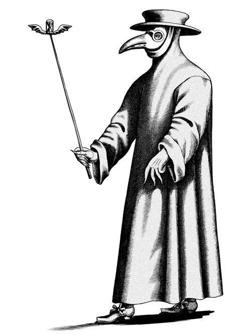 Pestdoktorns arbetskläder. Teckningen, som baseras på ett kopparstick från 1600-talet, visar den näbbliknande masken som pestläkarna bar. Masken fylldes med örter för att mildra stanken från liken och som man trodde, skydda mot smitta.