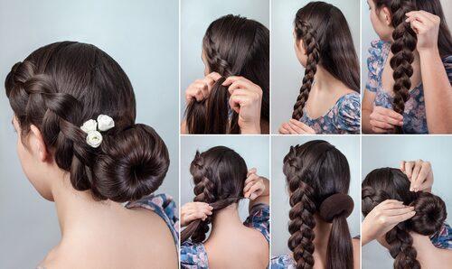 Låg knut med hårmunk är stilrent och snyggt. Här har man också gjort en fläta som lyfter frisyren lite extra.