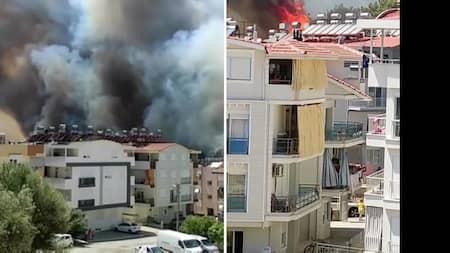 Skogsbränder sprider sig till samhälle i Antalya