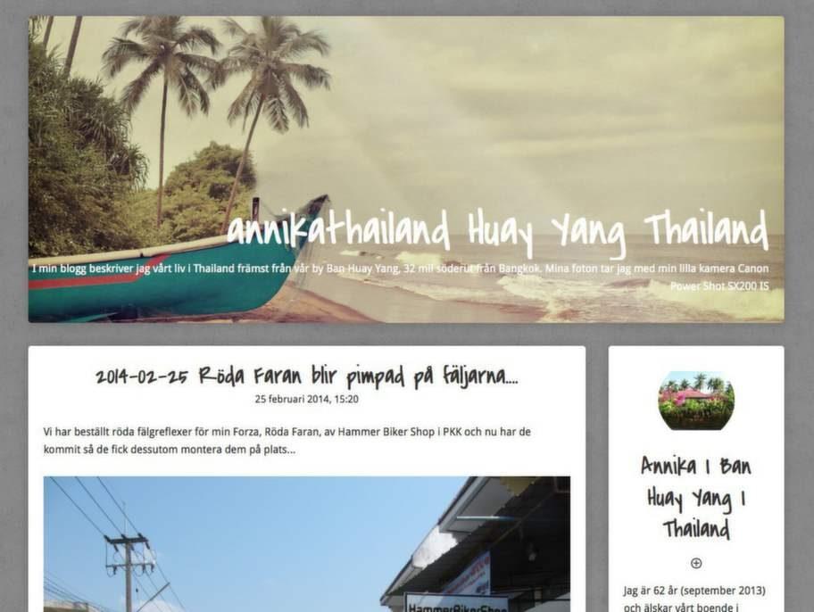 "Bästa Asienblogg: Annikathailnd som drivs av ""Annika Ilic""."