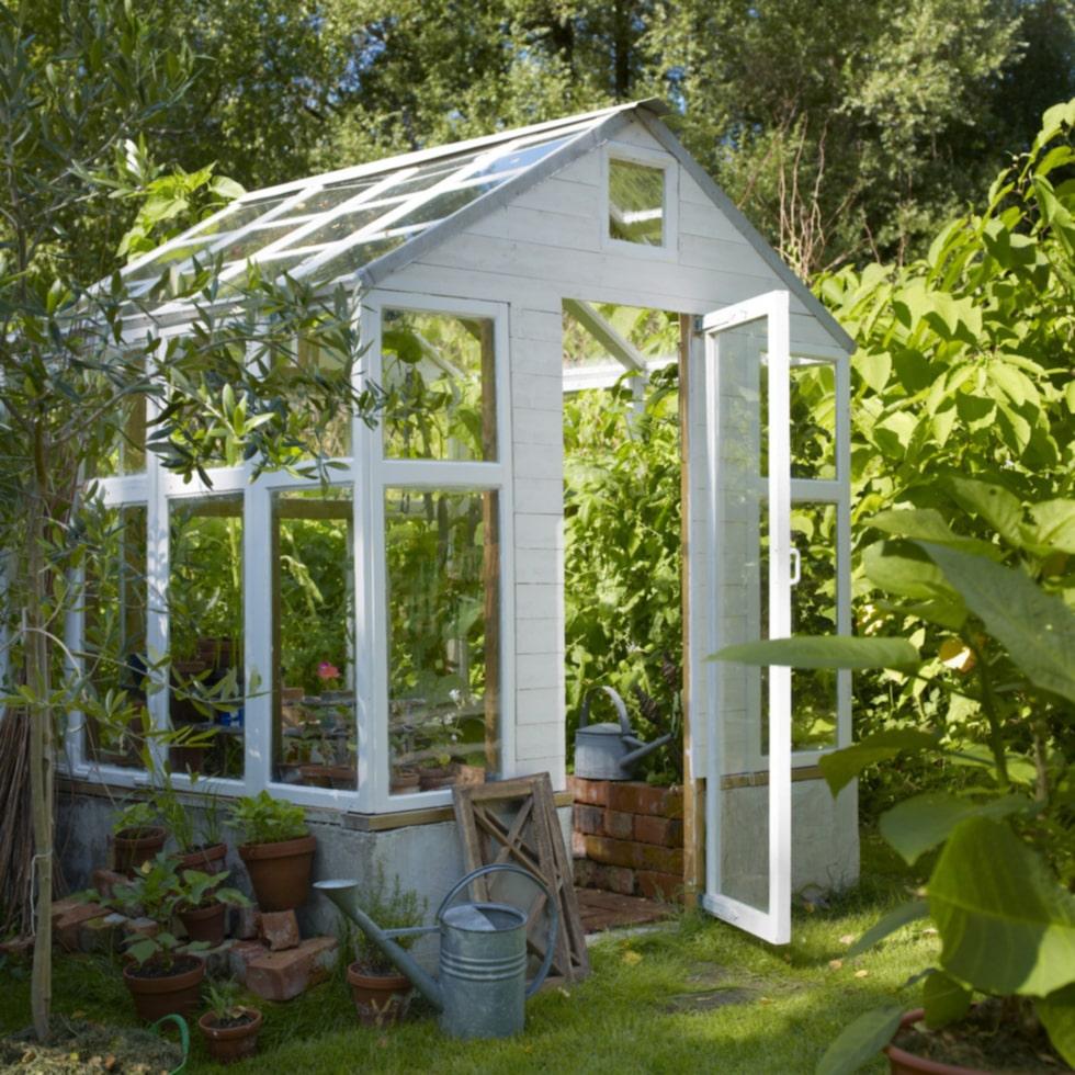 För att bygga det här växthuset krävdes lite mera jobb. Det har en grund av putsade lecablock och långsidorna utgörs av fönster och så även taket medan gavlarna krävde vissa delar träfasad.