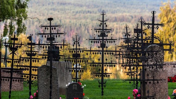 Mest känd är Ekshärads kyrka för sina ovanliga gravkors av lokalt smidat järn, föreställande Livets träd med blad av järn som rör sig i vinden.
