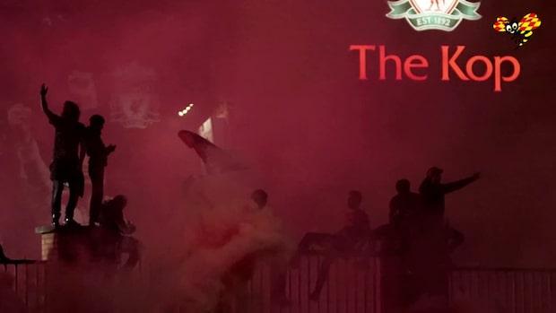Här firar Liverpool guldet
