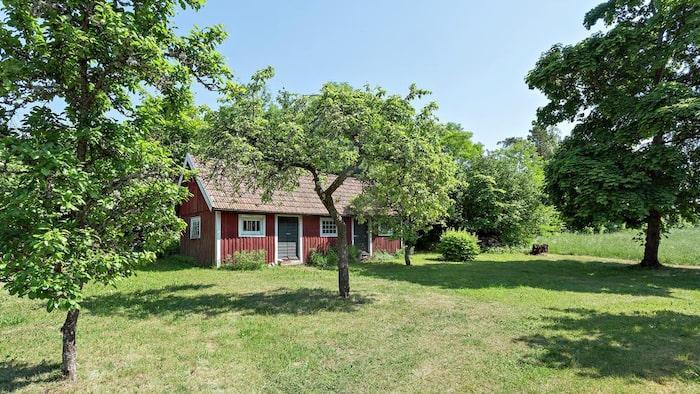 På den över 2000 kvadratmeter stora tomten växer träd och ligger också ett gårdshus med bakugn.