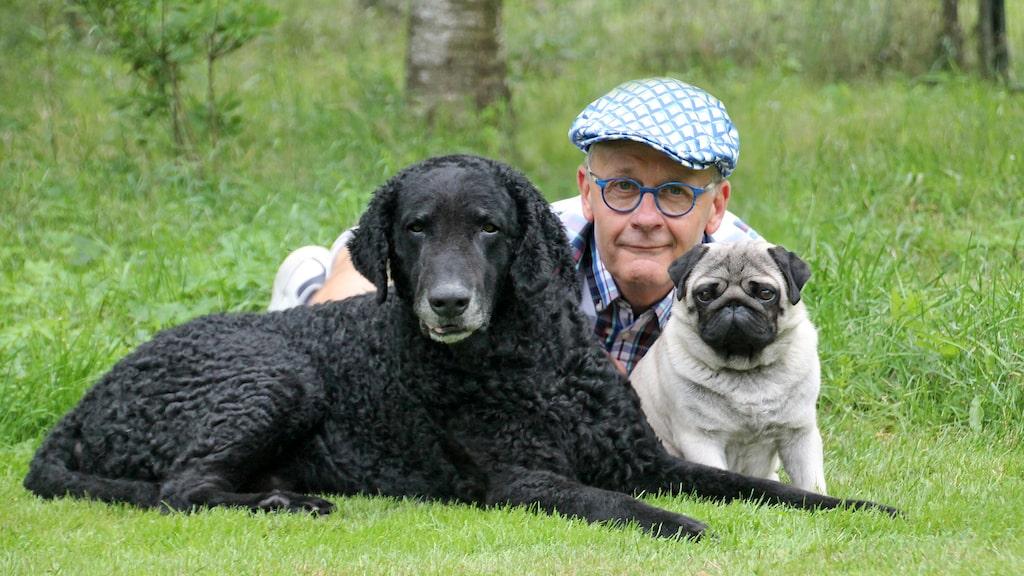 """""""När man köper en valp ska man först och främst veta att man har tid att ha hund och tid att ge hunden"""", säger Hans Rosenberg, presstalesperson på Svenska kennelklubben, här tillsammans med Ecko och Ryssen."""