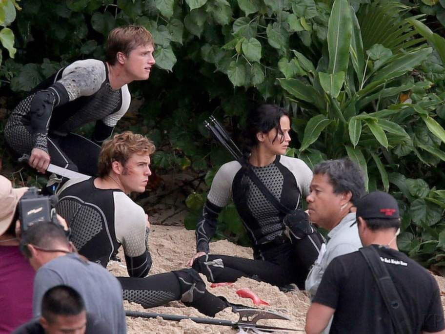 """""""Hunger Games: Catching fire"""". Många av filmens scener spelades in på den norra stranden på Oahu på Hawaii inte långt från hotellet Turtle Bay Resort."""