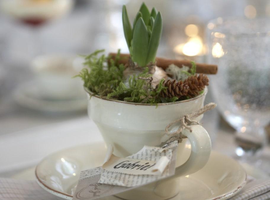 DEKORATIV KOPP. Varje gäst får ett vackert arrangemang av en hyacint i kopp med sig hem.