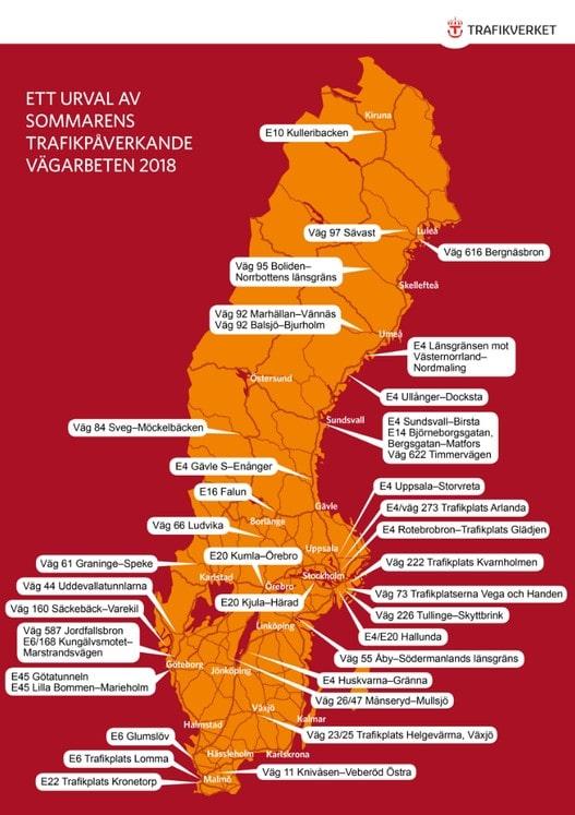 Kartan visar bara de största vägarbetena, kolla på Trafikverkets hemsida för att se hur det ser ut exakt där du bor.