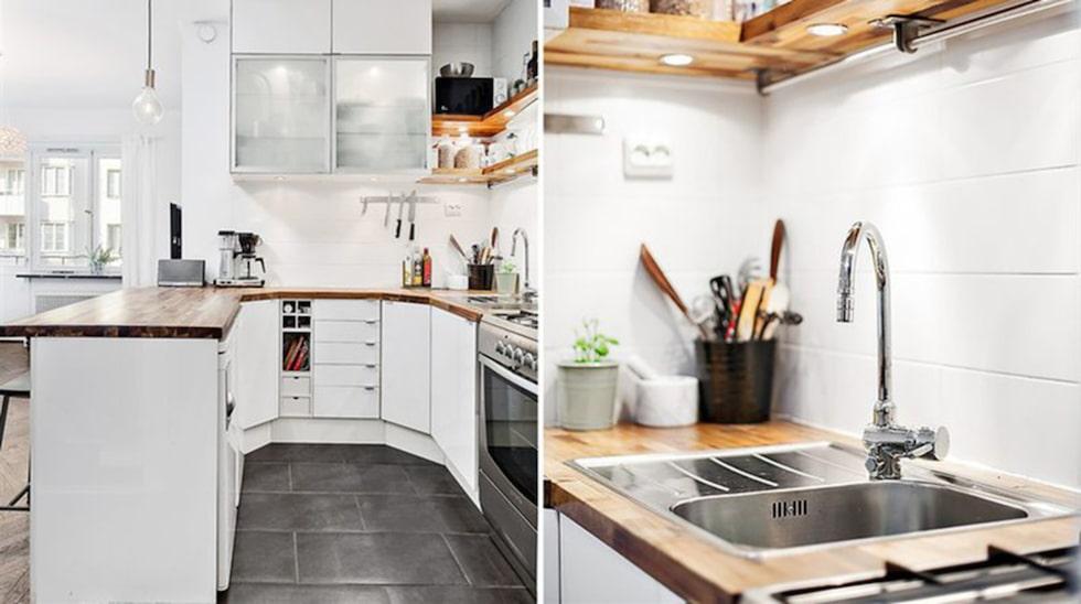 Ett smart och välplanerat kök, trots de få kvadratmeterna.